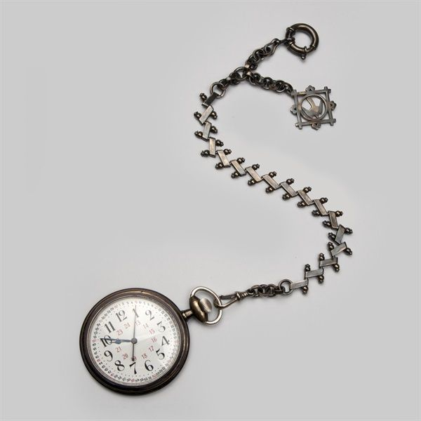 Bespoke Pocket Watch Chain made for the Tim Burton film - Miss Peregrine's Home for Peculiar Children. This design was worn by Eva Green's character Miss Peregrine. We were asked to make her watch chain and peregrine motif. The chain we made was a modified replica of an antique chain, which we handmade in solid silver and then patinated and aged to look like a well-loved piece of jewellery. We made two of these for the production, a longer and shorter one for different costume changes.