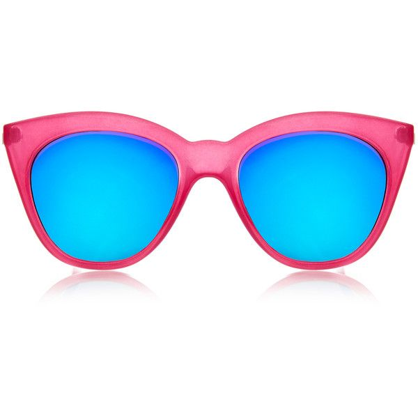 Le Specs Halfmoon Magic Fandango Pink Mirrored Cat-Eye Sunglasses (€28) ❤ liked on Polyvore featuring accessories, eyewear, sunglasses, pink, oversized retro sunglasses, mirrored sunglasses, pink mirror sunglasses, pink cat eye sunglasses and retro cat eye sunglasses