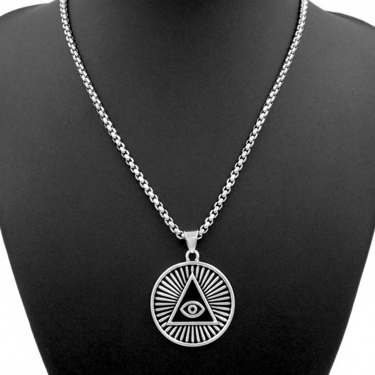 Mens Pewter Pendant Illuminati The All-seeing-eye pyramid/eye symbol Individuality Stainless Steel Necklace