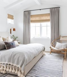 neutral bedroom with beautiful textiles