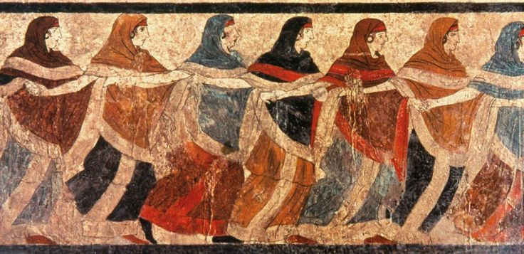 Danzatrici di Rubo. Dalla Tomba delle danzatrici, Ruvo di Puglia.  V sec.a.C.  Museo Archeologico Nazionale di Napoli