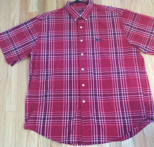 EUC-CHAPS-Ralph-Lauren-Red-Black-Plaid-Short-Sleeve-Button-Down-Shirt-XL