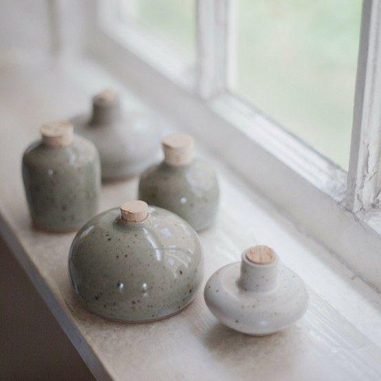 Charming handmade miniature ceramic bottles