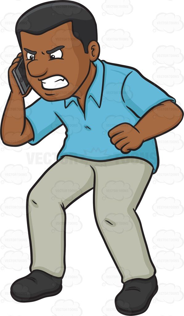 An angry black man scolding someone on the other line of the phone #cartoon #clipart #vector #vectortoons #stockimage #stockart #art