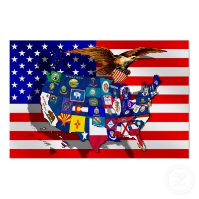 American Eagle USA flag US State flags map Posters by Funkart
