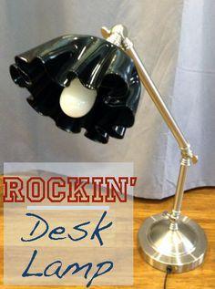 Tutorial: Rockin' Desk Lamp: Upcycled Vinyl Record & Old Desk Lamp -Oh yeah! Rock n' Roll basement!