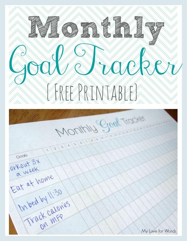 Monthly goal tracker via @Emily Schoenfeld Schoenfeld Schoenfeld Schoenfeld @ My Love for Words