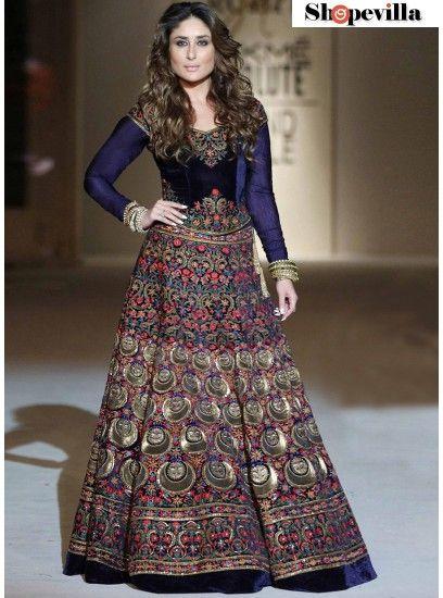 Kareena Kapoor Blue Banglore Silk Designer Anarkali Suit-KD-1118