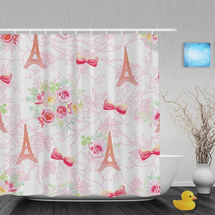 Paris Eiffel Towers Bathroom Curtains Vintage Pink French Bouquets Decor Shower Curtain Waterproof Polyester Fabric With Hooks #Affiliate