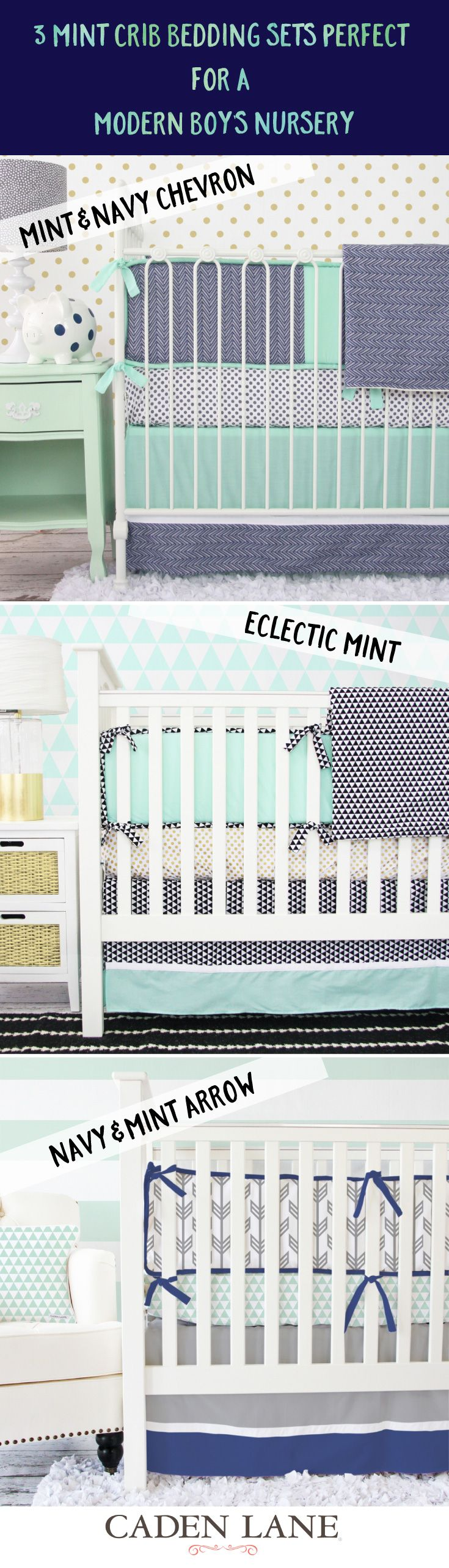 Crib bedding set gray white navy blue with by butterbeansboutique - 3 Mint Crib Bedding Sets Perfect For A Modern Boy S Nursery