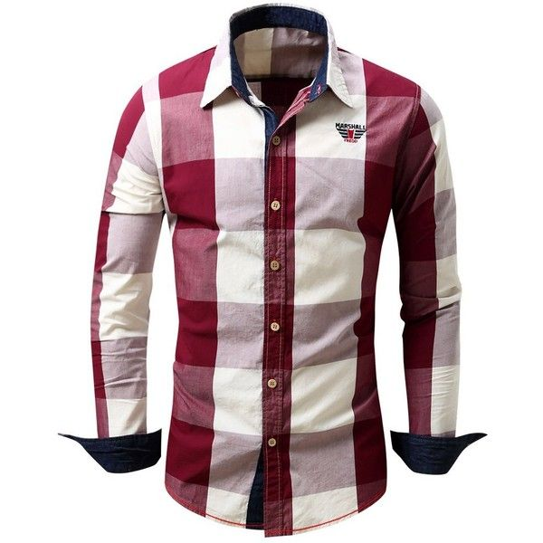 Turn Down Collar Plaid Pattern Long Sleeve Shirt For Men ($18) ❤ liked on Polyvore featuring men's fashion, men's clothing, men's shirts, men's casual shirts, shirts, mens collared shirts, mens longsleeve shirts, mens plaid shirts and mens long sleeve plaid shirts