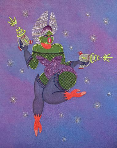 Boobarella a babely alien chick, a mixed media hand embroidery illustration from Laura Harte