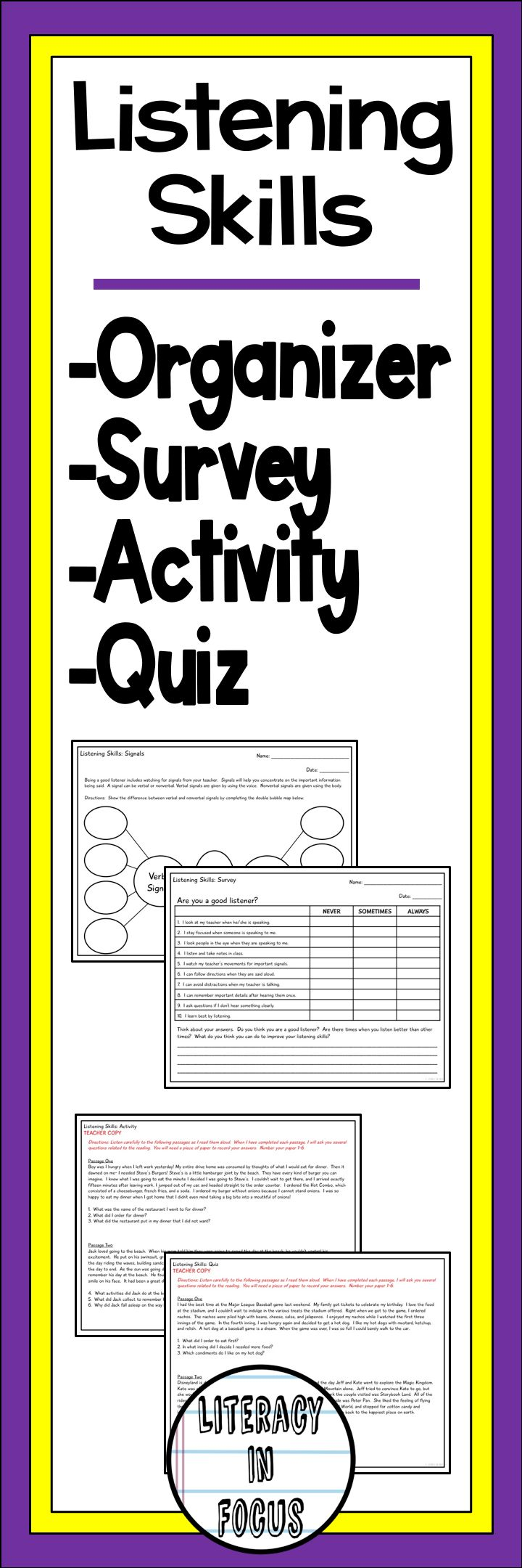 Everything you need to teach and assess listening skills including a graphic organizer, survey, activity, and assessment! After completing this unit, you will have a better idea of which students need additional help in building their listening skills.