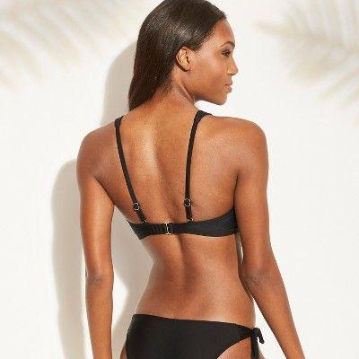 09287a4870 Women s Cut Out Tie Front Bralette Bikini Top - Xhilaration Black D DD Cup