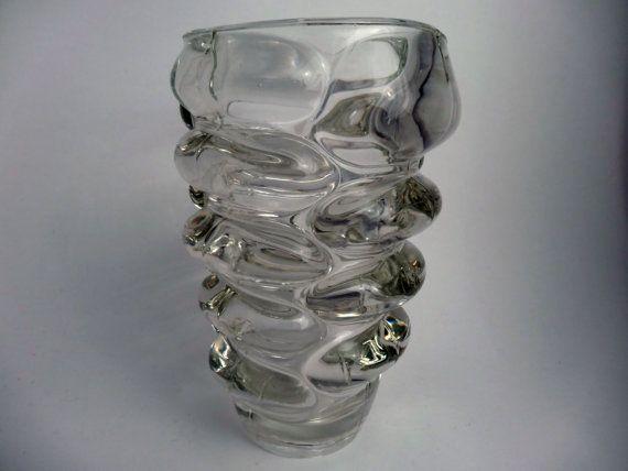 Vladislav Urban Sklo Union clear glass vase di TheVintageGlassShop