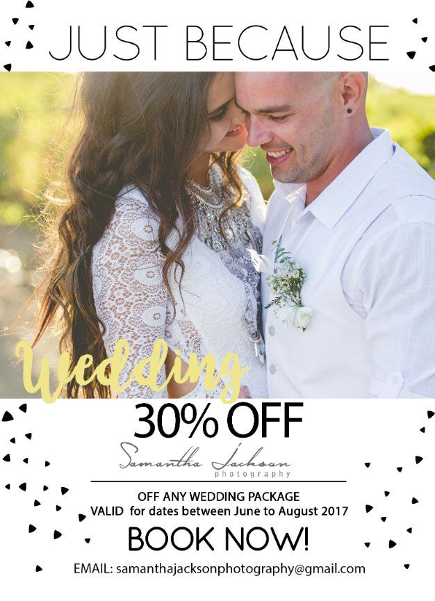 30% off All Weddings - June to August 2017 - Samantha Jackson Photography