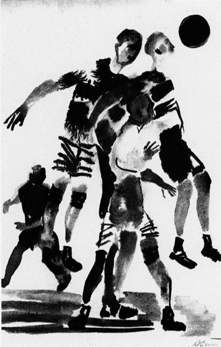 Футбол. Рисунок для журнала «Красная нива» 1927 год