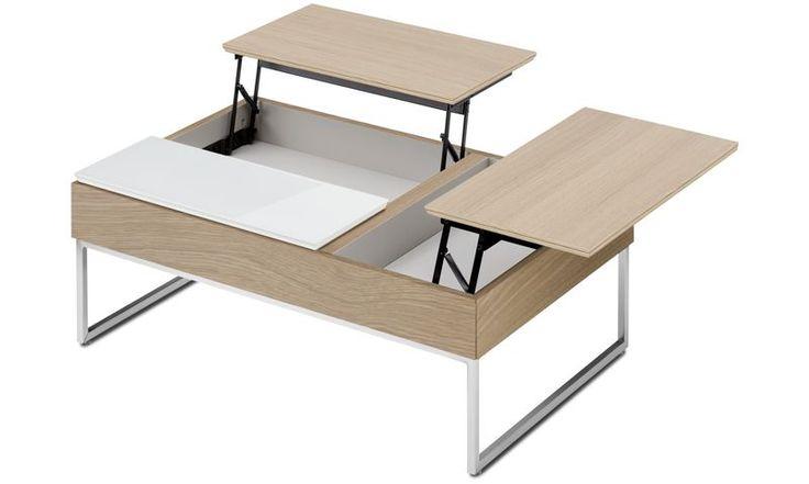 Soffbord - Chiva funktionellt soffbord med förvaring - square - Brun - Ek