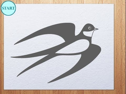 Step by step drawing lesson how to draw Swallow. video tutorial how to draw Martlet