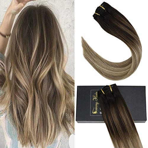 Amazing offer on Sunny 16inch 7pcs Double Weft Clip Human Hair Extensions 3 Dark Brown Fading 8 Light Brown Mixed 18 Ash Blonde Full Head Clip On Hair Extensions 120g Per Set online
