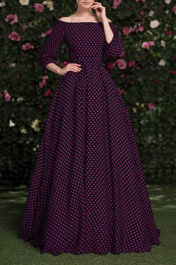 Slash Neck Polka Dot Maxi Dress