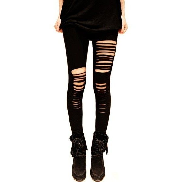 Black High Waist Ripped Leggings - High Waist Ripped Leggings ❤ liked on Polyvore featuring pants, leggings, ripped leggings, torn pants, ripped pants, high-waisted trousers and high rise pants
