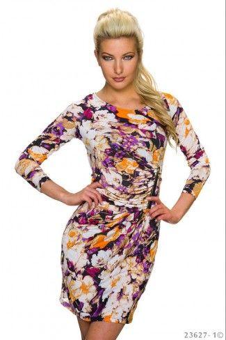 Φλοράλ μίνι φόρεμα με φερμουάρ - Μωβ Πολύχρωμο