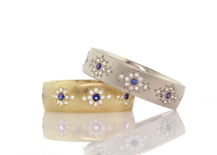 Blue Sapphire and Diamond Shimmer bands in yellow or white gold by Adel Chefridi #askindredspirits #adelchefridi #bluesapphirejewelrymeaningandqualities