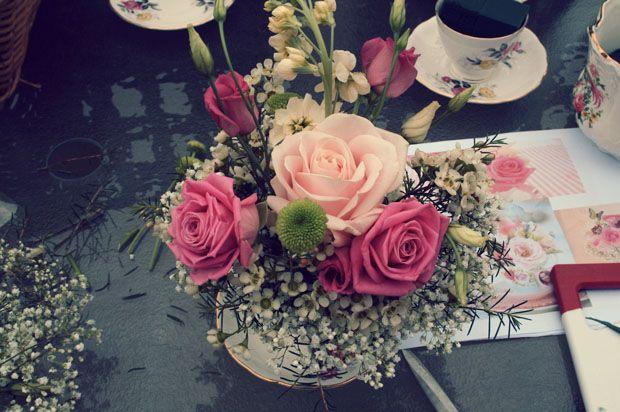 Vintage teacup flower arrangement.
