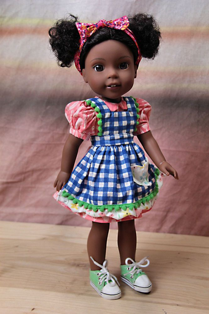 """Handmade Checkered Apron Dress Outfit for AG Wellie Wishers 14"""" Dolls #Unbranded"""