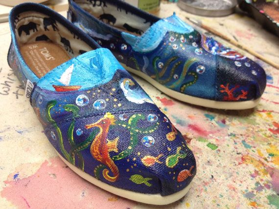 Hand painted Toms nautical shoes unique cool shoes by VMoliDesigns, $125.00
