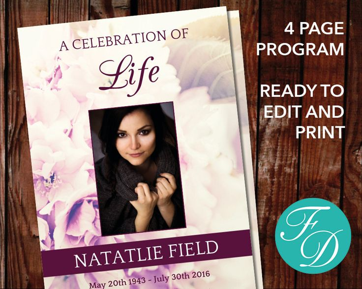 51 best Pink Funeral Program Templates images on Pinterest - memorial service template word