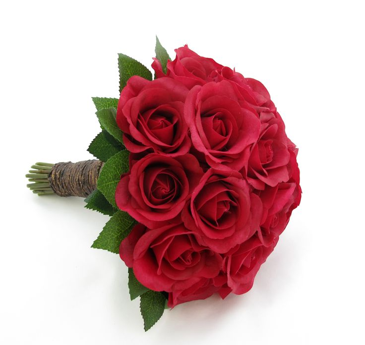 Red Fresh Touch rose bouquet with vine binding.