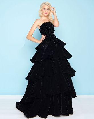 2018 Zipper Strapless Tiered Black Navy Ball Gown Floor Length Taffeta Sleeveless Prom / Homecoming Dresses 66344