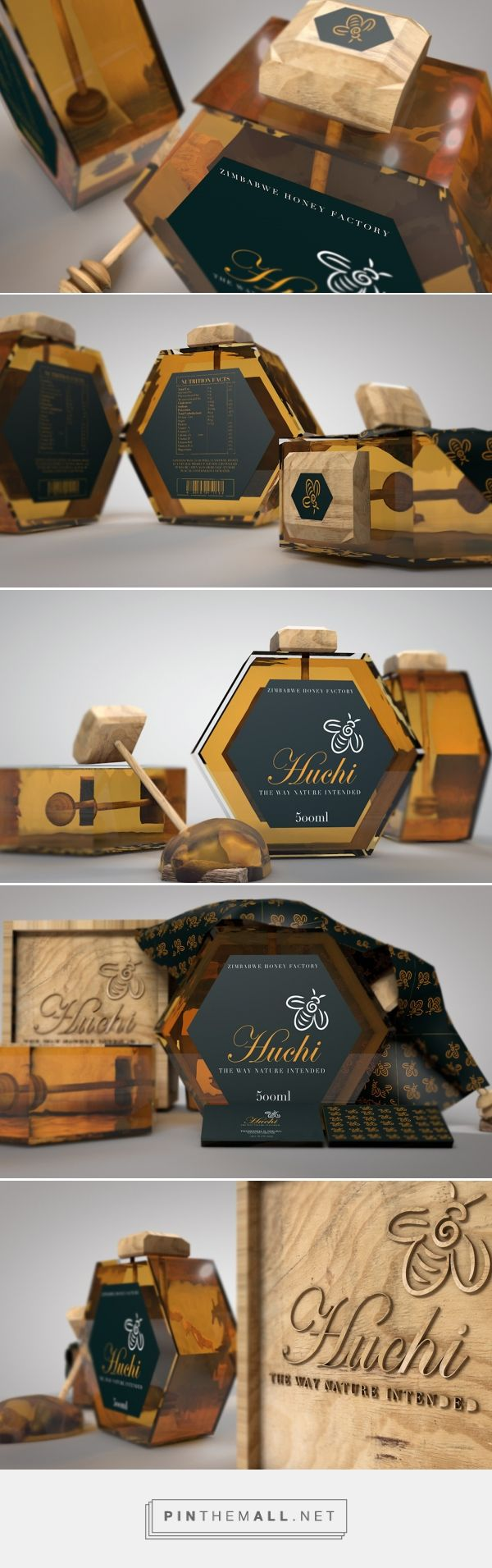 Huchi (honey) product design on Behance by Thamsanqa Nigel Ndlovu, Dubai, United Arab Emirates curated by Packaging Diva PD. Concept jars are an intended brand image packaging for the honey product for Zimbabwe Market. Huchi is a Zimbabwean name for honey.