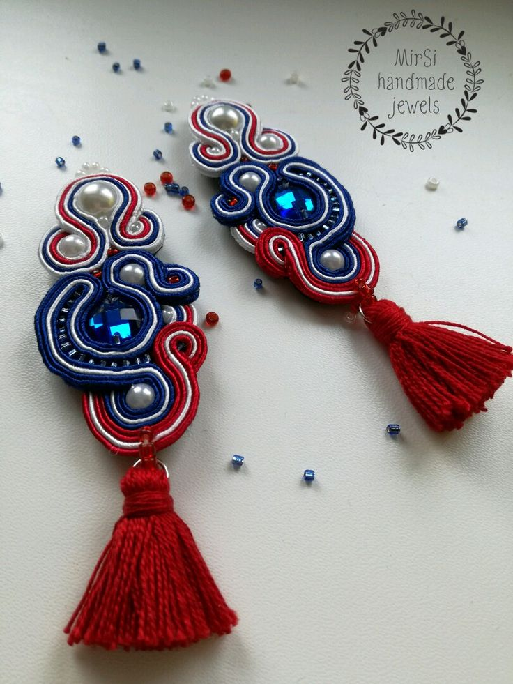 Soutache earrings, blue, red and white Slovak national colours with tassels