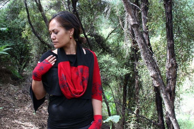 Koru and Pohutukawa Infinity Scarf 100% NZ Merino