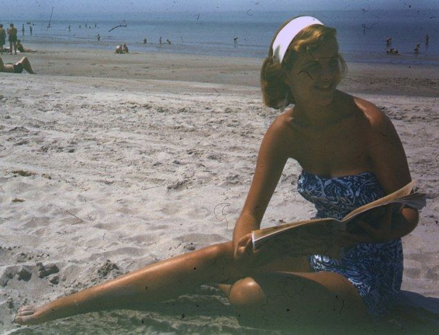 On holiday: Sylvia Plath enjoys the beach in the summer of 1953 after her stint at Mademoiselle