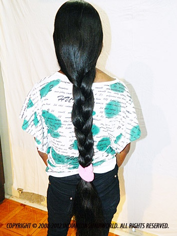 Long Hair Model of the Month September 2012. Swati with her long, thick thigh length hair in Thick long braid