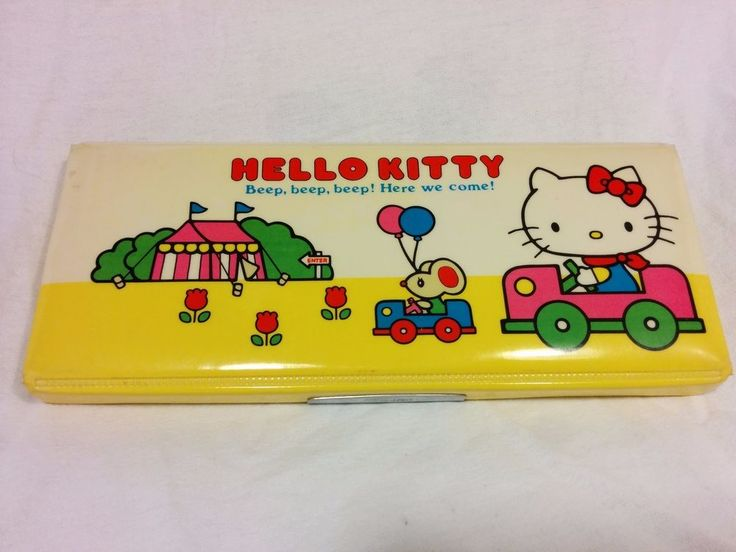 Vintage 1976 Sanrio Hello Kitty Soft Magnetic Lid Pencil Box SUPER RARE!!