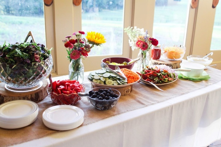 Homemade dinner from our family farms with DIY food table display - salad bar