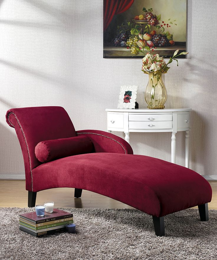 Baxton Studio Hestia Red Microfiber Modern Chaise Lounge By
