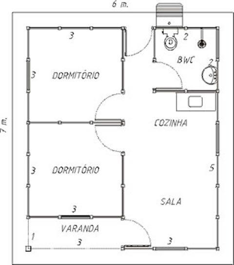 Planta de casas pequenas 2 quartos preto e branco
