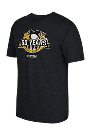 Reebok Pitt Penguins Mens Black 50th Anniversary Fashion Tee