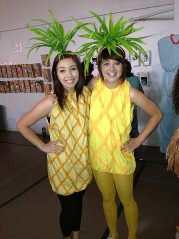 Diy pineapple costumes. XL tshirt. Elastic around bottom and neck. Cut sleeves. Hot glue fabric on. Yellow tights. HAT: yellow headband. Fake leaves. Pliers. Hot glue. Green tape.