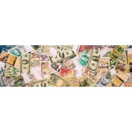 Collection of currencies of various countries Canvas Art - Panoramic Images (36 x 12)