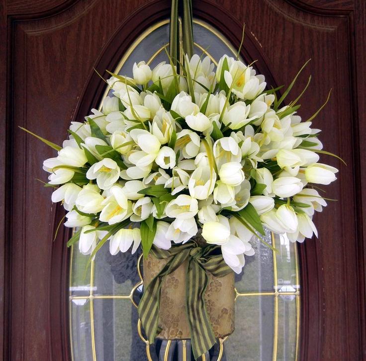 Spring Wreath White Tulip Wreath Wreath For The Door