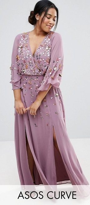 Plus Size Embellished Kimono Sleeve Maxi Dress