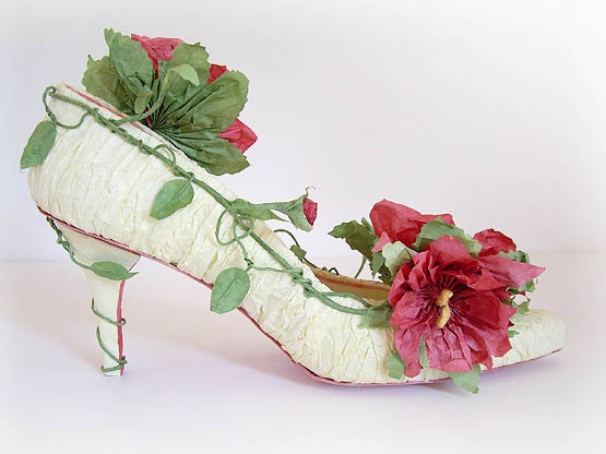 Rose Garden  Handmade Papershoe  Shoe art  Paper by Kwandera, - Bridesmaids shoes perhaps... love