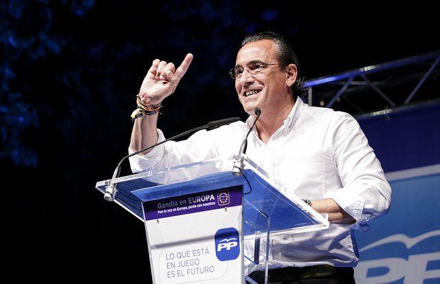 Durante mi intervención en la cena-mitin fin de campaña de las elecciones europeas en la plaza Elíptica